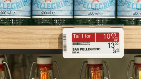 Electronic shelf labels at Danish Coop